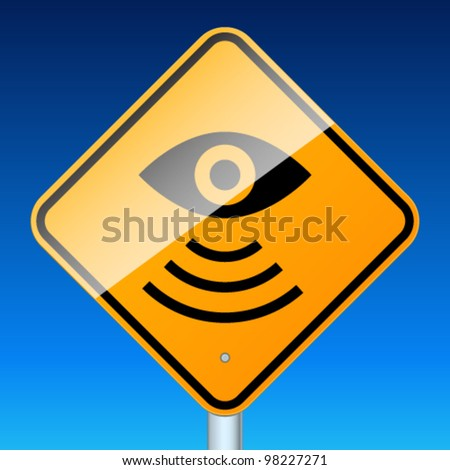 Road sign warns about road video surveillance - stock vector