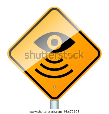 Road sign warns about road video surveillance isolated in white background - stock vector