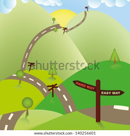 Road Sign Ways, Hard or Easy. Business Concept. - stock vector