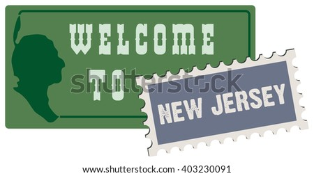 Road sign welcome to new jersey. Vector illustration. - stock vector