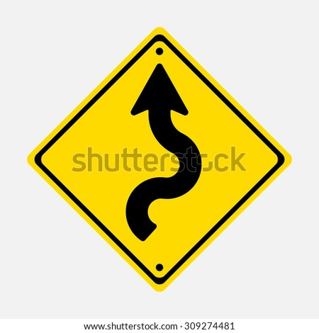 road sign winding road, winding road, fully editable vector image - stock vector