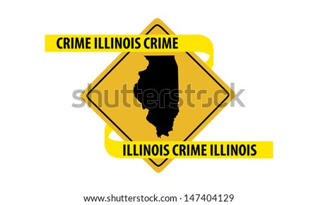 Road sign with Illinois state map and crime tape. - stock vector