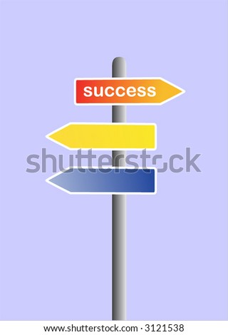 road sign with success text - stock vector