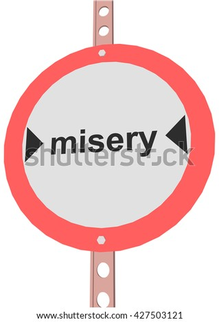 """road sign with the text """"misery"""" - stock vector"""