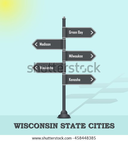 Road signpost template for USA towns and cities - Wisconsin state