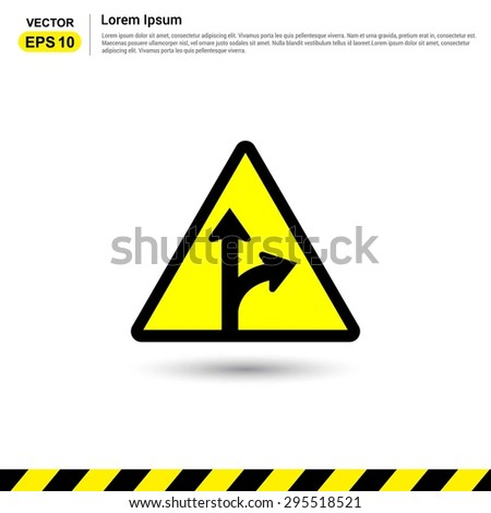 Road signs. Go Straight - Turn Right - Form in Road Sign - Yellow Traffic sign icon - stock vector