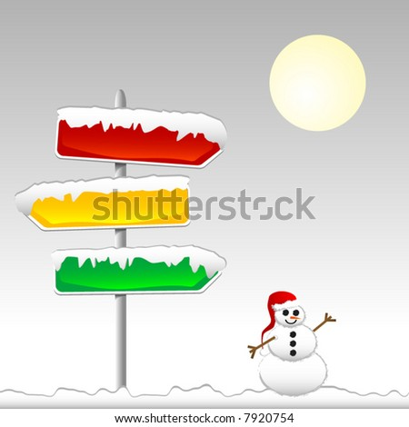 Road signs of different colors covered with snow and a snowman with a Santa's hat. Vector. Each element on separate layers. - stock vector