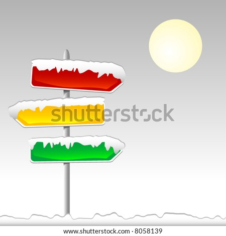 Road signs of different colors covered with snow. Vector. Each element on separate layers. - stock vector