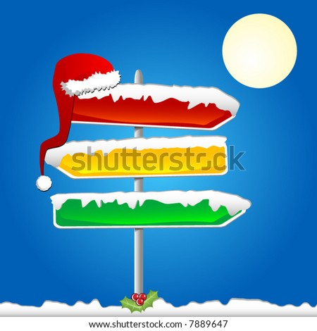 Road signs of different colors covered with snow with a Santa's hat hanging. Vector. Each element on a different layer. - stock vector