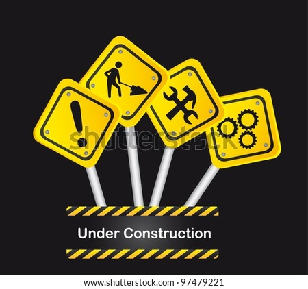 road signs over black background, under construction. vector - stock vector