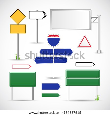 Road signs template vector - stock vector