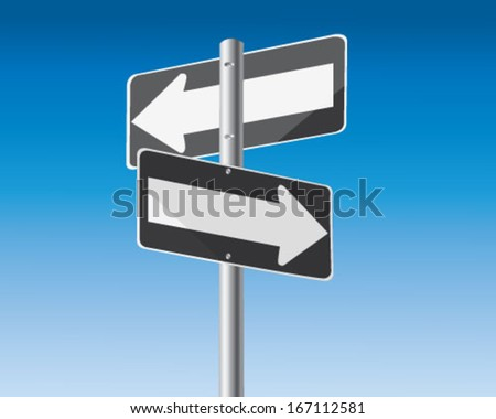 Road signs with arrows on signpost - stock vector
