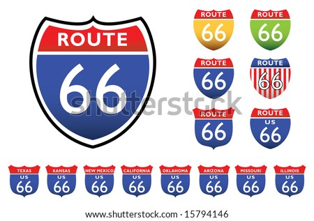 road signs with 66 route, all the 8 states - stock vector