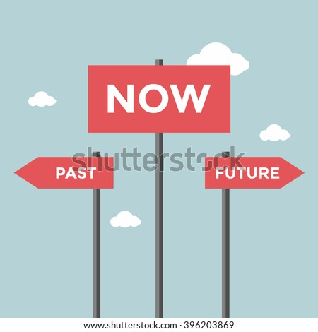 Road signs with words now, past and future. - stock vector