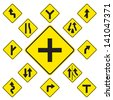 Road Signs yellow  on white background - stock vector