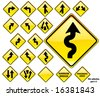 Road Signs YELLOW series: 19 different detailed US/Australian style road signs; part 1/3 - stock photo