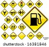 Road Signs YELLOW series: 19 different detailed US/Australian style road signs; part 2/3 - stock vector