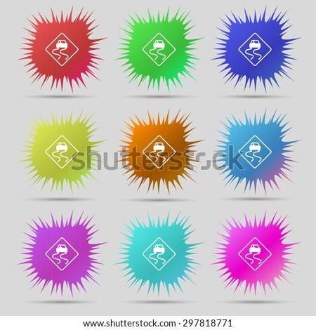 Road slippery icon sign. A set of nine original needle buttons. Vector illustration - stock vector