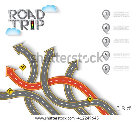 Road & Street Design with Arrow and Icon Set, Template Background, Vector EPS10. - stock vector