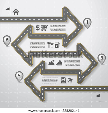 Road & Street Infographic Design Template with Icons Set, Travel Concept, Illustration eps10 - stock vector