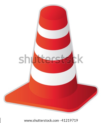 road stripped cone in vector mode - stock vector
