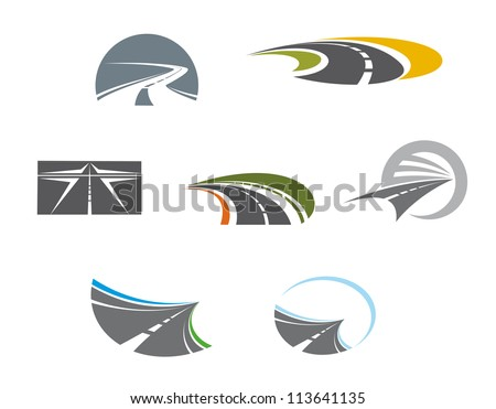 Road symbols and pictograms for transportation design, such a logo idea. Jpeg version also available in gallery - stock vector