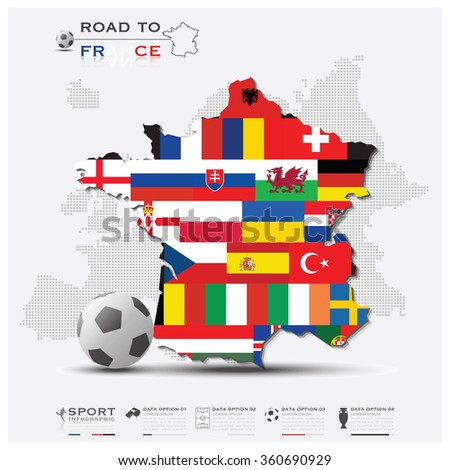 Road To France Football Tournament Sport Infographic Vector Design - stock vector