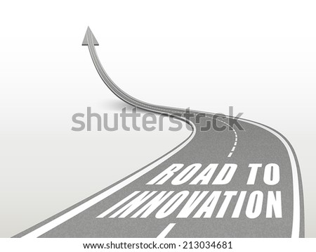road to innovation words on highway road going up as an arrow - stock vector