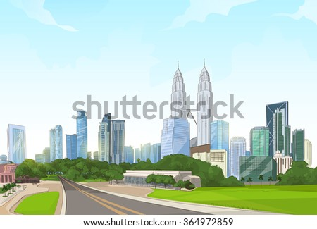 Road To Modern City View Skyscraper Cityscape Background With Copy Space Vector Illustration - stock vector