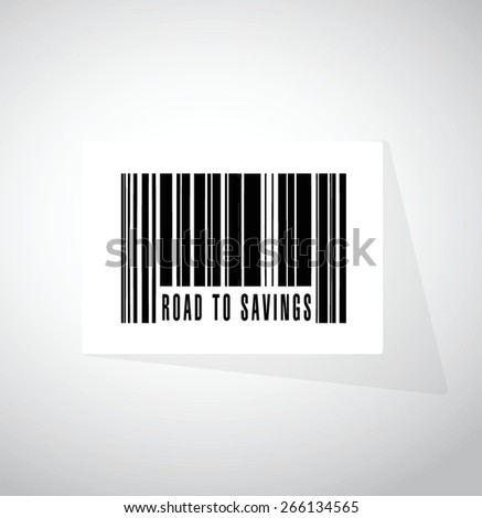 road to savings barcode, upc sign illustration design over white - stock vector