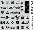 Road traffic info graphic icons - stock photo