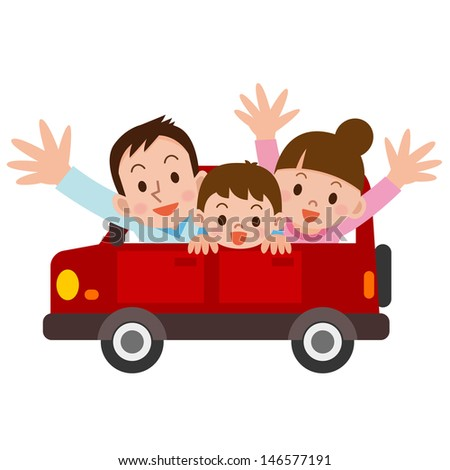 Road Trip with family - stock vector