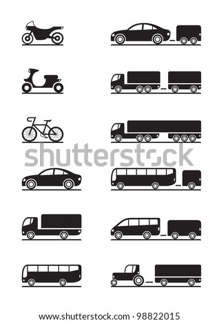 Road vehicles icons - vector illustration - stock vector