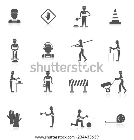 Road worker black icons set with warning under construction sign isolated vector illustration