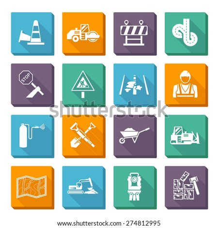 Road worker flat icons set with construction tools and machines isolated vector illustration - stock vector
