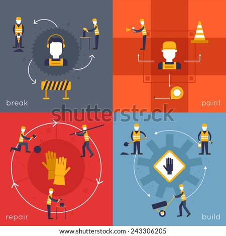 Road worker icons flat set with break paint repair build isolated vector illustration - stock vector