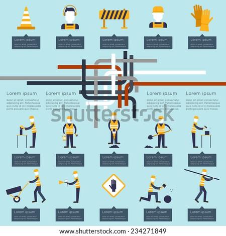 Road worker industrial builders and contractors infographics set vector illustration - stock vector