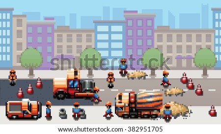 road works - pixel art urban scene game style vector layer illustration