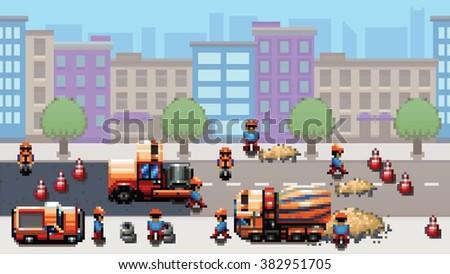 road works - pixel art urban scene game style vector layer illustration - stock vector