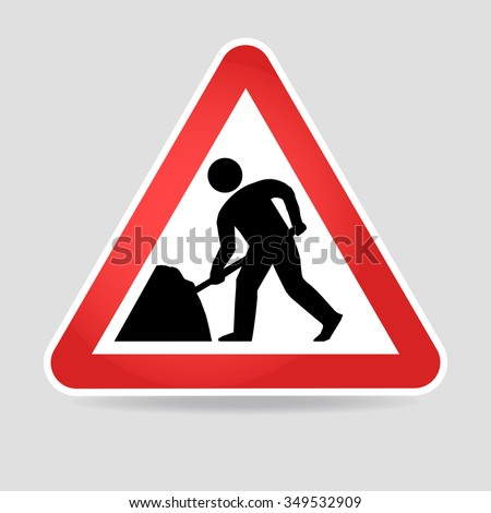 Road works sign, under construction. Warning red road sign, triangle shape with red border, working man isolated on white background.
