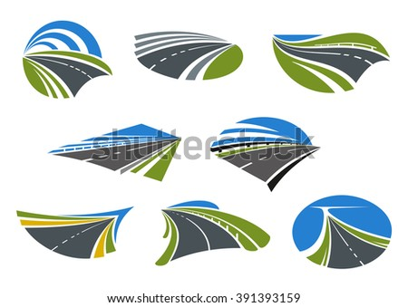 Roads and modern speed highways icons with green and yellow roadsides and blue sky. For travel, vacation or transportation design  - stock vector