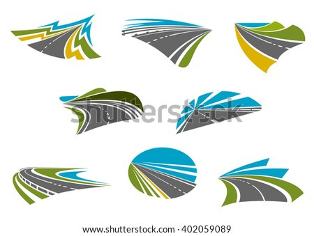 Roads isolated icons for car road trip, traveling and vacation design with coast, mountain and rural highways with colorful nature landscapes - stock vector