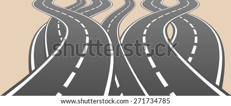 Roads overcrossing different ways choice vector illustration. - stock vector