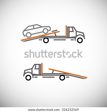 Roadside assistance car towing truck. Vector image for icon, logo and pictogram design. Graphic element in orange, black and grey colors. - stock vector