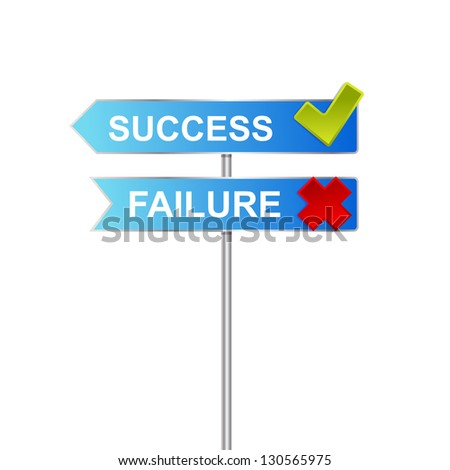 roadsigns with world SUCCESS and FAILURE .Success Failure sign isolated on white
