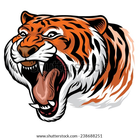 roaring angry tiger - stock vector