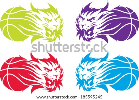 Roaring bobcats with basketballs. Isolated illustration. - stock vector