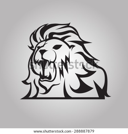 Roaring lion - stock vector
