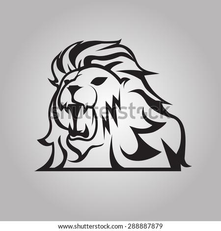 Roaring lion - stock vector