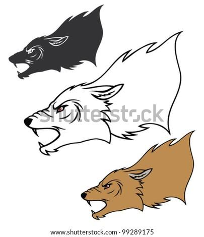 Roaring wolf head - vector illustration - stock vector